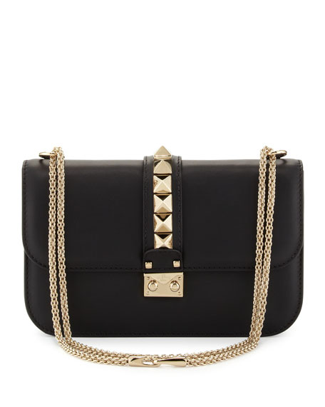 Valentino Garavani Rockstud Flap Shoulder Bag, Black