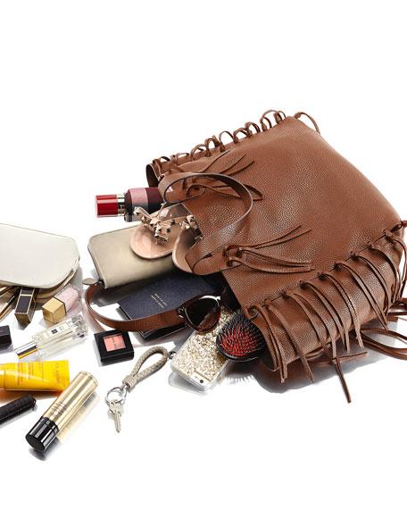 C-Rockee Fringe Leather Tote Bag, Tan