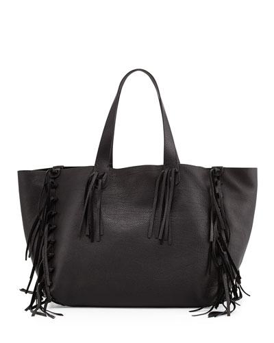 C-Rockee Fringe Leather Tote Bag, Black