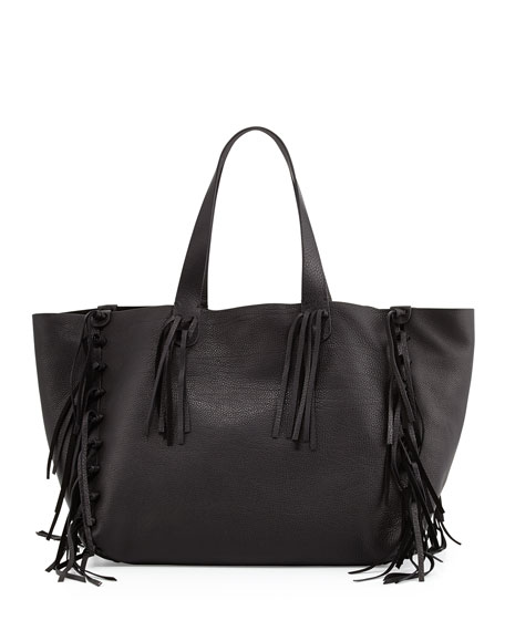 Valentino Garavani C-Rockee Fringe Leather Tote Bag, Black