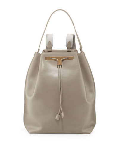 THE ROW Leather Drawstring Hobo/Backpack, Gray