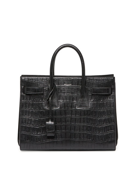 Saint Laurent Sac de Jour Croc-Print Small Satchel