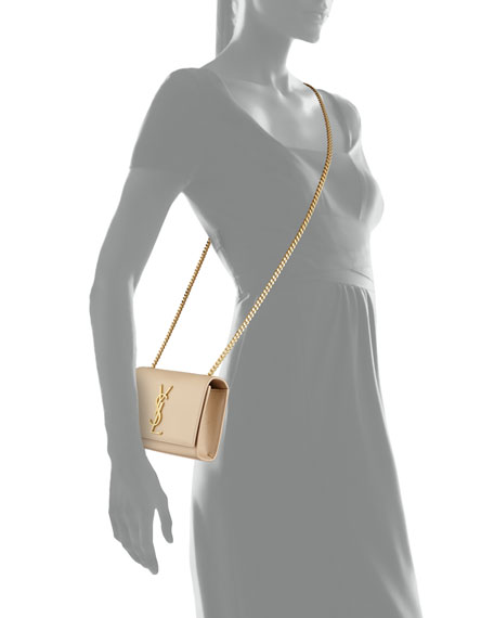 Monogram Leather Crossbody Bag, Cream
