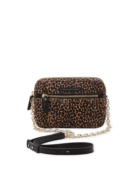 Milo Micro Calf Hair Crossbody Bag, Leopard/Black