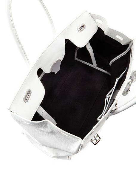 Ricky 40 Large Calfskin Satchel Bag , White