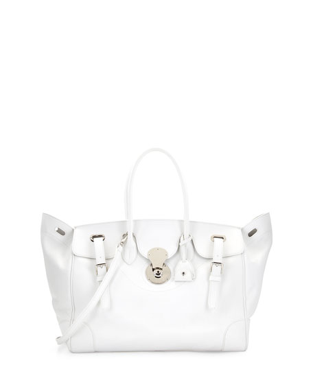 Ricky 40 Large Calfskin Satchel Bag , White