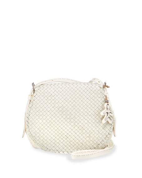 Stella Small Woven Crossbody Bag, White