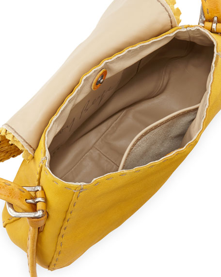 Stella Small Woven Crossbody Bag, Yellow