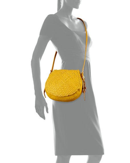 Stella Small Woven Crossbody Bag, Yellow