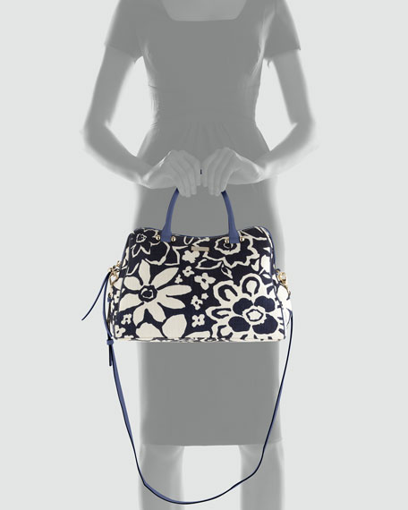 charles street audrey floral-print tote bag, french navy