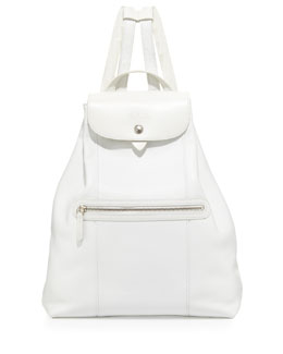 Longchamp Veau Foulonne Leather Backpack, White