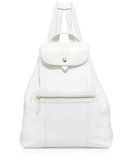 Veau Foulonne Leather Backpack, White