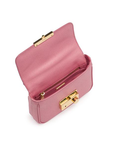 Prada Saffiano Mini Crossbody Clutch, Pink (Peonia)