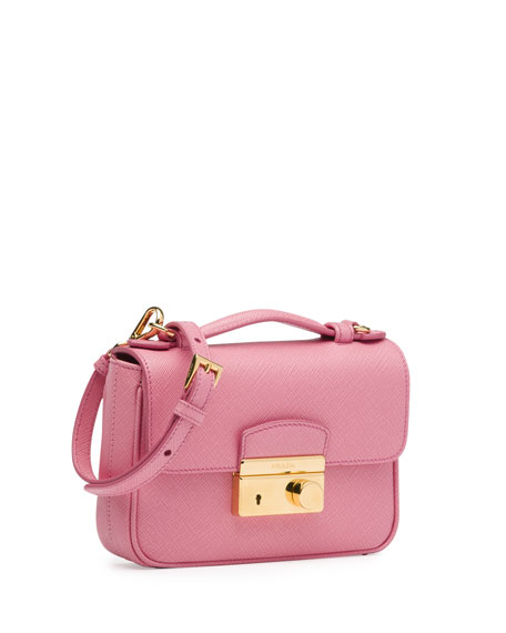 Saffiano Mini Crossbody Clutch, Pink (Peonia)