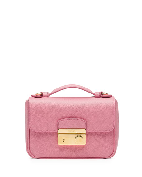 Prada Saffiano Mini Crossbody Clutch, Pink (Peonia)