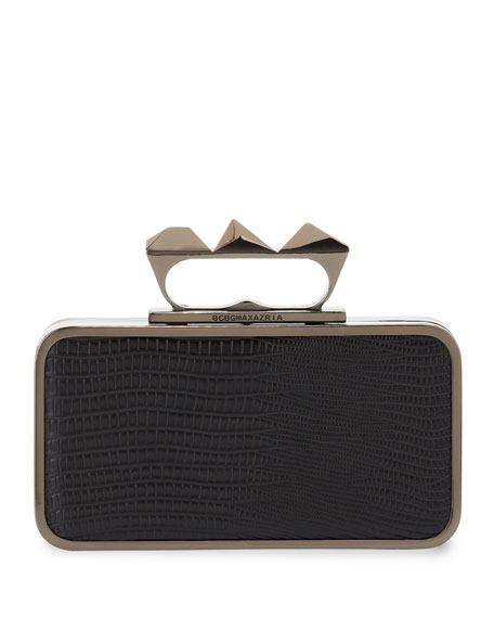 Snake-Print Knuckle-Duster Clutch