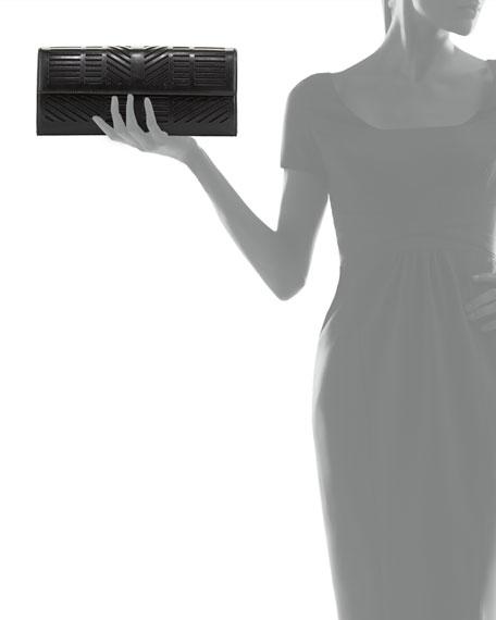 Geometric Laser-Cut Clutch Bag, Black