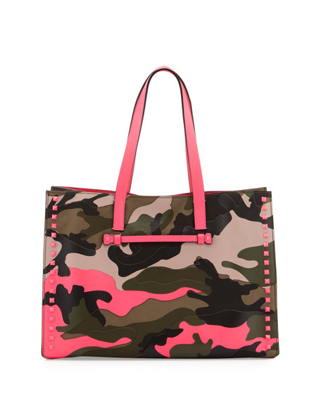 Camouflage Soft Square Tote Bag, Neon