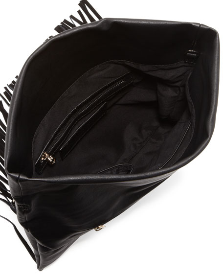 Fringe Fold-Over Clutch, Black