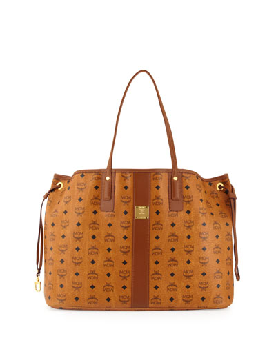 MCM Liz Reversible Shopper Tote Bag, Cognac