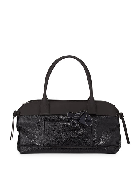 Calfskin East-West Satchel Bag, Black
