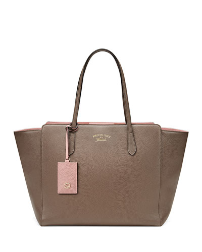 Gucci Swing Medium Tote Bag, Gray/Pink