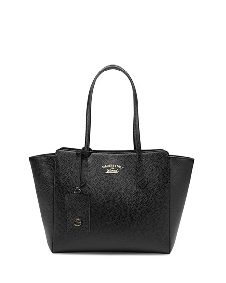 Gucci Swing Small Leather Tote Bag, Black