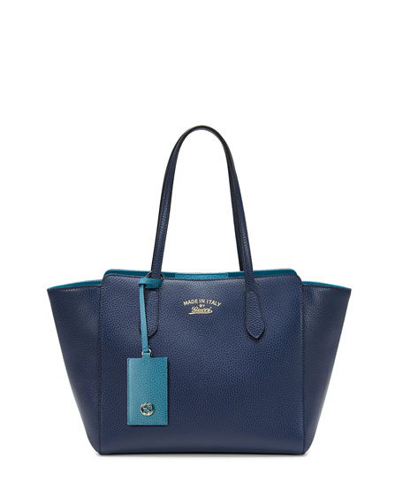 Gucci Swing Small Leather Tote Bag,Navy/Turquoise