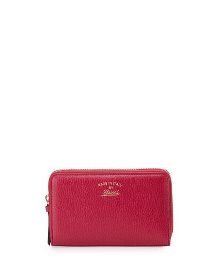 Swing Leather Mini Zip Around Wallet, Fuchsia