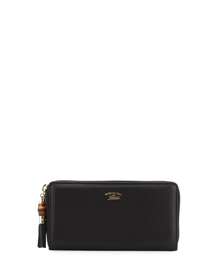 Gucci Bamboo Tassel Leather Zip Around Wallet, Black