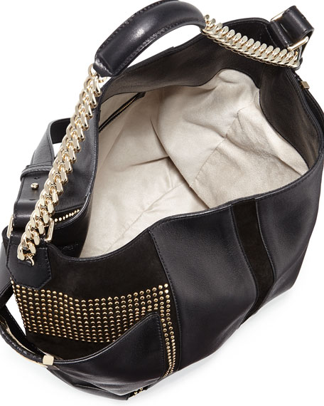Anna Studded Leather Tote Bag, Black