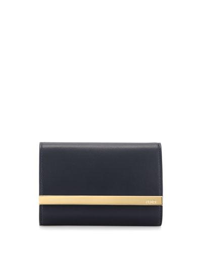 Rush Mini Leather Clutch Bag, Navy