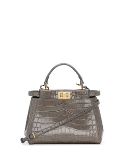 Fendi Peekaboo Alligator Mini Satchel Bag, Gray