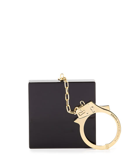 Handcuff Box Clutch Bag, Black