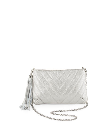 Mimi Metallic Tassel Clutch Bag, Silver