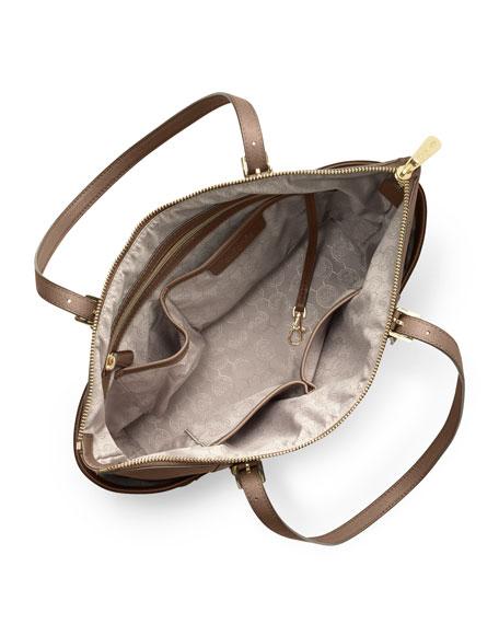 Jet Set Top-Zip Saffiano Tote Bag, Dark Dune