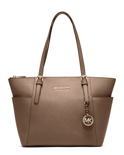 Jet Set Top-Zip Saffiano Tote Bag, Dark Dune