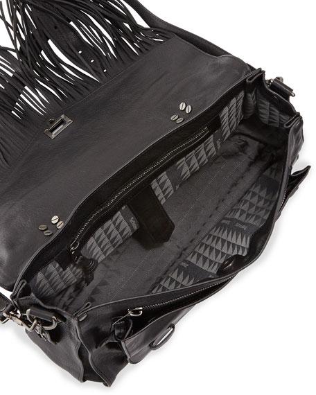 PS1 Medium Fringe Satchel Bag, Black