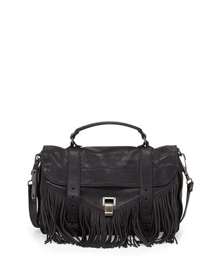 PS1 Medium Fringe Satchel Bag, Black
