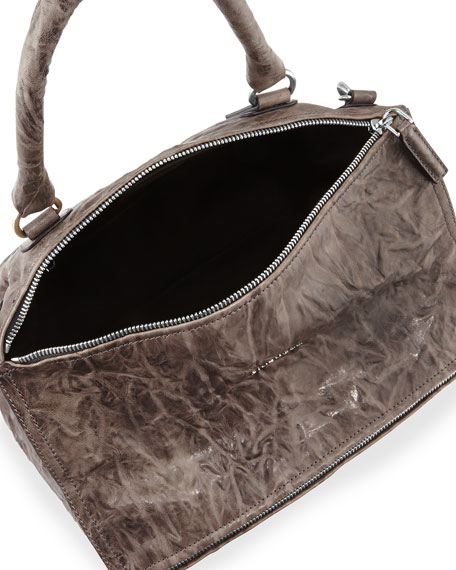Pandora Large Leather Satchel Bag, Charcoal