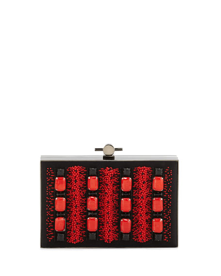 Karlie Beaded Satin Box Clutch Bag, Red/Black