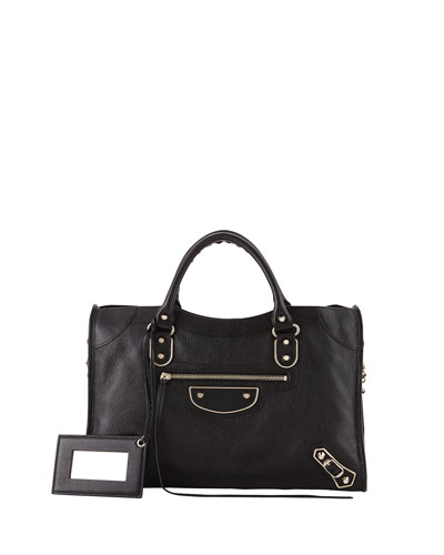 Metallic Edge Classic City Bag, Black