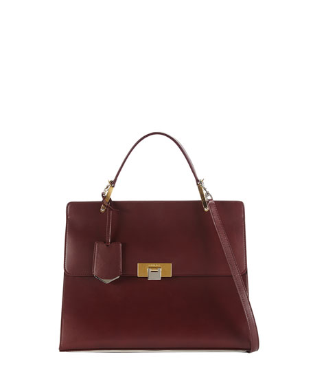 Le Dix Cartable Flap Satchel Bag, Aubergine