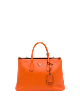 Prada Saffiano Cuir Twin Bag, Orange (Papaya)