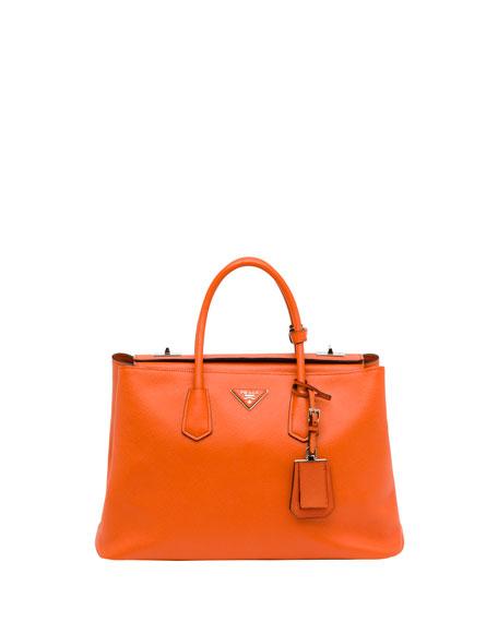 Saffiano Cuir Twin Bag, Orange (Papaya)