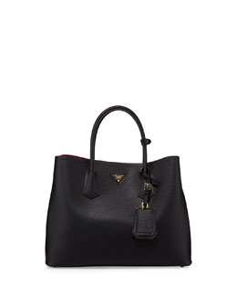 Prada Saffiano Cuir Double Bag, Black