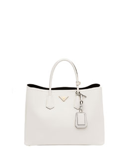 Prada Saffiano Cuir Double Bag, White