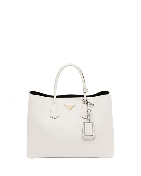 6ca0df0f1fb8 ... where can i buy prada saffiano cuir double bag white talco ece29 4e0e6  ...