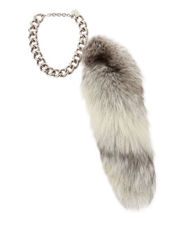 Alexander McQueen Fur Fox Tail Charm, Gray