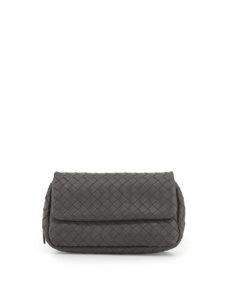 Bottega Veneta Intrecciato Small Chain Crossbody Bag, Gray